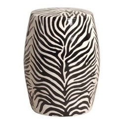 Zebra Ceramic Stool - Ceramic garden stools have made their way over from China, and now designers are adapting them into eclectic pieces for inside the house. Add a dash of animal print with this black and white zebra stool. Use it as a side table or as extra seating.