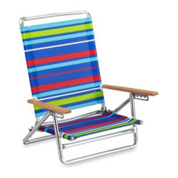 All-luminum Products, Inc. - Five-Position Beach Chair - Beach chair with a rust-resistant aluminum frame and solid wood arms adjusts to five positions for your comfort. Steel seat provides added strength, plus chair lays flat for all-over sunning.