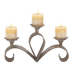 None - Metal Candle Holder 15 inches wide x 9 inches high - This set of three, extra wide candle holders spread light evenly in larger area. It is perfect to accent your dining area or during an event.