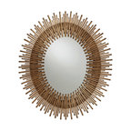 "Arteriors - Arteriors - Prescott Gold Leaf Oval Small Mirror - 2143 - Arteriors - Prescott Gold Leaf Oval Small Mirror - 2143 Features: Prescott Collection MirrorGold ColorHandmade artistry and top-notch craftsmanshipSurrounding its oval centerAntiqued gold leaf rods form a textured presence of glamorous allureMirror hangs vertically or horizontally with attached wire Some Assembly Required. Dimensions: 20""W x 1""D x 36""H11.5"" Diameter x 16""H"