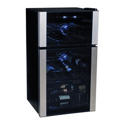 Koolatron - 29 Bottle Dual Zone Wine Cellar - Keep your wine chilled to perfection with the Koolatron 29 bottle, dual zone wine cellar. This unique fridge is a dual cooling zones. It features separate cooling chambers, which can be set at different temperatures. There is enough room to chill 10 bottles in the upper zone, and another 18 bottles in the lower zone. The Koolatron 29 bottle wine cellar features compressor based cooling system. The removable stainless steel wine racks allow you to customize the cellar and the built-in soft lighting make it a perfect show piece in any kitchen, den, or home bar. ?This unique wine fridge is perfect for your favourite red or white wines. The electronic temperature control takes the guesswork out of storage, and makes it easy for you to keep your wines at the perfect temperature.. No assembly required. 17.5 in. L x 18.5 in. W x 32.5 in. H