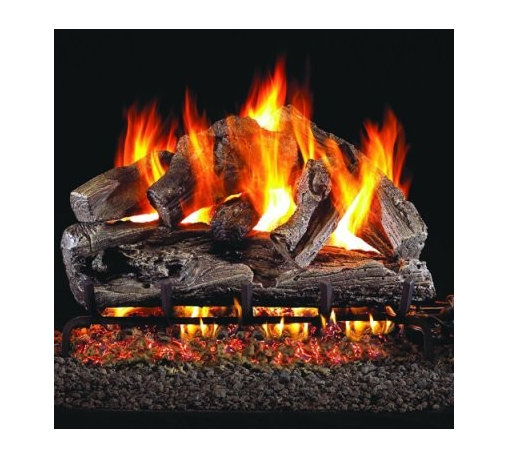 Real Fyre Rugged Oak Vented Gas Log Set - With a Real Fyre Rugged Oak Vented Gas Log Set in the fireplace, the natural look of a rustic log hearth is complete. This hand-painted refractory ceramic log set is modeled from real wood samples, with realism, texture, and nuance straight from nature. They burn efficiently while protecting natural resources and reducing pollution, providing real radiant heat for your home. Each is supported by steel rods in the center, and artfully placed about a steel burner and powder-coated grate. Choose 18 or 24 inches to fit your standard direct vent fireplace Choose propane or natural gas power source Silica sand and platinum embers included with every model Optional pilot kit and remote control Manufacturer's lifetime warranty included Heating Output Propane 18-inch: 45,000 BTU Propane 24-inch: 65,000 BTU Natural gas 18-inch: 70,000 BTU Natural gas 24-inch: 90,000 BTU Note: It is recommended that you use a professional installer to ensure the safety of the exhaust system. A licensed contractor should be contacted for installation of all products involving gas lines. About Real FyreReal Fyre understands more about the amazing things that happen when flame and good food meet. For the last 70 years, they've set out to create the singularly best way to cook food outdoors, using the highest-quality materials, innovative design, and an absolutely relentless pursuit of perfection. With a complete line of luxury-grade grills, burners, accessories, and built-in grill island components, Real Fyre is ready to turn your home into the world's best outdoor kitchen.