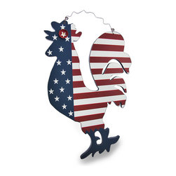 Zeckos - American Flag Whimsical Wooden Rooster Wall Plaque - This is a wonderful piece of Americana art perfect for hanging in any home or office It's made from printed pressed wood, and features a whimsical bottle cap eye, and hangs from the curled wire hanger attached at the top. It measures 18.75 inches (48 cm) high, 11.5 inches (29 cm) wide and .5 inch (1 cm) deep. The edges have been lightly weathered giving it even more character, and would look amazing in a dining room, family room, or on a covered porch, and makes a wonderful gift for a flag waving, rooster loving friend