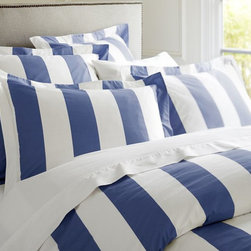 PB Classic Stripe 400-Thread-Count Duvet Cover & Sham, Lapis Blue - Nautical stripes will bring my bed into relaxation mode.