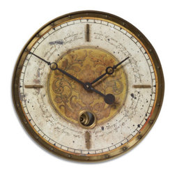 UTTERMOST - Leonardo Script Cream Wall Clock - Weathered, laminated clock face with a cast brass outer rim, brass center components and internal pendulum. Requires 1-AA battery.