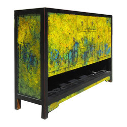 Golden Lotus - Chinese Sunflower Oil Painting Buffet Table TV Stand Cabinet - This is Chinese buffet table which is made of solid elm wood.  Its around of table has sunflower oil painting on it.  It can be also used as TV stand cabinet, the front of cabinet has six CD drawers and two shelves, and the bottom shelf can be hold the video components