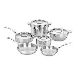 Cuisinart - Cuisinart FCT-10 French Classic Tri-ply 10-piece Stainless Cookware Set - The French Classic tri-ply stainless cookware set has a three-layer design that ensures optimal heat with a pure aluminum core enveloped by pure stainless steel. This Cuisinart cookware set is perfect for the up and coming chef or the modern family cook.