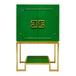 Worlds Away - Worlds Away - Anna Bar Cabinet - Anna, Green - Worlds Away - Anna Bar Cabinet In Green Lacquer - ANNA GR