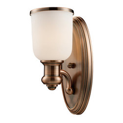 ELK Lighting - ELK Lighting 66180-1 Brooksdale Single-Light Wall Sconce in Antique Copper Finis - Blending Vintage Design Elements With Today's Casual Living, The Brooksdale Collection's Functional Beauty Allows For Use In A Variety Of Decors. Choose The Finish That Best Reflects Your Style; Polished Chrome, Satin Nickel, Or Antique Copper With White Glass Or Oiled Bronze With Amber Glass.Specifications: