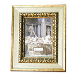 Lawrence Frames - Carved Antique Silver And Gold 5x7 Picture Frame - A classic wide profile with silver and gold combination frame with classic old world architecture pattern around the inside edge.  This composite frame has a rich and lustrous silver and gold finish.  High quality black velvet backing with an easel for vertical or horizontal table top display, and hangers for vertical or horizontal wall mounting.    Heavy weight 5x7 composite picture frame is made with exceptional workmanship and comes individually boxed.