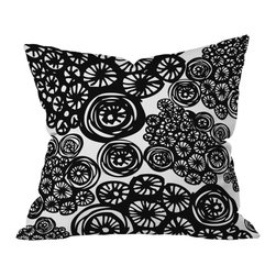 DENY Designs - Julia Da Rocha Circo Doodles Throw Pillow, 26x26x7 - Blooming bicycles! Whether it reminds you of wheels or wildflowers, this graphic pillow will add movement and life to your sofa, bed or bench. Custom printed on woven polyester, it also includes the bun insert so you can keep pedaling/petal-ing.