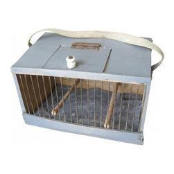 Bird Cage - Rustic gray colored wood and wire bird cage from the Netherlands. Access to interior via hinged top lid with porcelain knob and at back for cleaning of metal sheet (slides out). Duo wood perches and wire front for viewing.