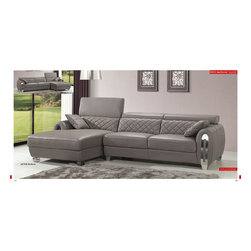 8033 Modern Gray Genuine Leather Sectional Sofa - Modern Style Sectional Sofa