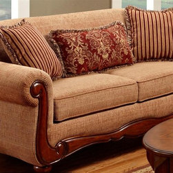Chelsea Home - Linda Sofa - Pillows not included. Matching turned finished legs. Seating comfort: Medium. Kiln dried and crafted of hardwood and cross banded plywood. Precisely assembled with block and staples. No seat cushion is attached. Seat back cushion is attached. Reversible seat cushion. Zippered cushions. No sag steel springs that are tied with insulated border wire for uniform seating. Padded with a polyester pad over the springs. Boxed welt cushions. Zippered and reversible to provide life and prevent uneven wear. 1.8 density foam with polyester wrap. Made from 31% polyester, 69% polypropylene and kiln dried hardwood. Key west umber color. Made in USA. No assembly required. 85 in. L x 38 in. W x 39 in. H (150 lbs.)