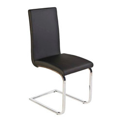 Eurostyle - Eurostyle Santos Leatherette Side Chair w/ Chromed Steel Base in Black [Set of 2 - Leatherette Side Chair w/ Chromed Steel Base in Black belongs to Santos Collection by Eurostyle The Santos is an impressive side chair perfect for a modern dining experience. With soft, durable leatherette upholstered seat and back, this chair is sure to impress your friends, family and guests. The sled shaped base provides a sturdy foundation for comfortable seating. Paired with a modern dining table, The Santos will last remain a favorite in your home for many years. Side Chair (2)