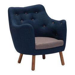 Zuo Modern Contemporary, Inc. - Liege Chair Cobalt Blue - A pinnacle in European Mid-Century Modern Design, the Liege Chair is handsome and comfortable.  With just a splash of understated color, this set adds sophisticated pop to any room.  Live and love this piece in any setting.