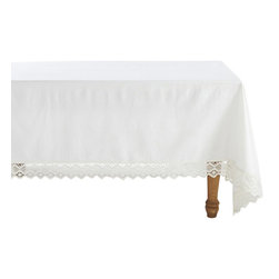 "Coyuchi - Grand Lace Tablecloth 70""x108"" White - An extra-wide border of geometric lace makes our tablecloth feel romantic, rustic and modern, all at once. It surrounds an expanse of organic cotton, in a smooth, plain weave that keeps the look perfectly balanced."