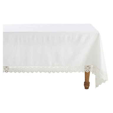 """Coyuchi - Grand Lace Tablecloth 70""""x108"""" White - An extra-wide border of geometric lace makes our tablecloth feel romantic, rustic and modern, all at once. It surrounds an expanse of organic cotton, in a smooth, plain weave that keeps the look perfectly balanced."""