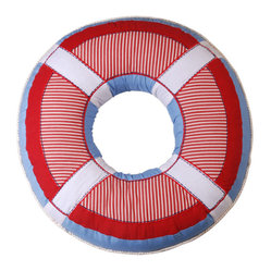 Red and Blue Round Life-saver Nautical Throw Pillow