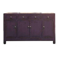 Golden Lotus - Rustic Purple Lacquer Oriental Sideboard Buffet Table - This is a simple oriental style sideboard cabinet with 4 drawers and two storage compartments which are decorated with metal Chinese style hardware. The surface is painted with modern rustic purple lacquer color.
