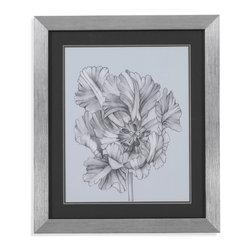 Bassett Mirror - Bassett Mirror Framed Under Glass Art, Silver Blue Tulips I - Silver Blue Tulips I