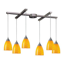 Arco Baleno 6-Light Kitchen Island Pendant Track Lighting Fixture - Light up the kitchen with these yellow glass track lights.