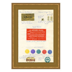 Soicher-Marin - Antique Apothocary Labels, Paris F - Giclee Print with a mid century modern antique distressed bronze wooden frame with fly speckle antique with a gold key line around image on a brown/tan mat. Includes Glass, eyes and wire. Made in the USA. Wipe down with damp cloth