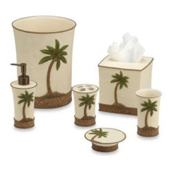 Tommy Bahama - Tommy Bahama Island Song Waste Basket - This hand-painted resin bath ensemble has a tropical feel with a textured finish and raised palm tree accent. A great way to add a relaxing, breezy feel to your bathroom.