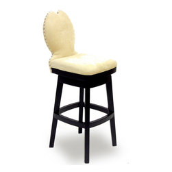 "Armen Living - Ava 26"" Swivel Barstool in Cream Fabric - The incomparably chic look of the Ava Swivel Barstool in cream microfiber is sure to elevate the design element in your home. Nailhead accents on the back add virulent value to sophisticated style.; Solid wood construction; 360 degree swivel mechanism; Fire retardant foam padding; Polyester microfiber fabric, easy to clean; 26"" seat height; Dimensions: 40""H x 17.5""W x 20.5""D"
