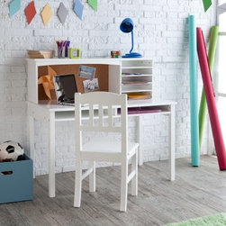 Guidecraft Media Desk & Chair Set - White - Beautifully crafted from wood and finished in classic white the Guidecraft Media Desk & Chair Set - White is a gorgeous addition to any room. Designed for children ages three to ten this desk is perfect for your child to have their own place to do their homework work on crafts do research and more. With five shelves on the hutch and two slots in the desk your child will have plenty of room to keep everything organized. Whether your child is a preschooler or well on their way to upper elementary this desk is an ideal choice. Assembly required. Additional Features Hutch has 5 shelves for organization Desk features 2 slots to store items Designed for kids ages 3-10 About GuidecraftGuidecraft was founded in 1964 in a small woodshop producing 10 items. Today Guidecraft's line includes over 160 educational toys and furnishings. The company's size has changed but their mission remains the same; stay true to the tradition of smart beautifully crafted wood products which allow children's minds and imaginations room to truly wonder and grow. Guidecraft plans to continue far into the future with what they do best while always giving their loyal customers what they have come to expect: expert quality excellent service and an ever-growing collection of creativity-inspiring products for children.