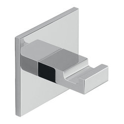 Gedy - Adhesive Mounted Square Polished Chrome Aluminum Hook - Hook mounts easily to wall with adhesive.