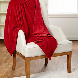 Berkshire Blanket - Rustic Red Oversized Velvetloft Throw - This incredibly soft plush blanket wraps you in luxurious comfort that rivals the snuggliest stuffed animal.   100% polyester Machine wash; hang dry Imported