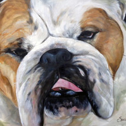 "Pet Portraits - Oversized Dog Art! Make a HUGE statement with you favorite face with a commissioned painting of your own favorite Dog, Mary Sparrow known around the world for her pet paintings, for more dog art come follow Hanging the Moon on Facebook! Contact the Artist to fill your wall... 36x48"" oil on canvas."