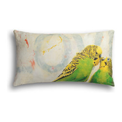 """Carrier Collective - """"Love"""" Lumbar Pillow - Crafted of linen/cotton fabrics, Carrier Collective Art Pillows are created from the original Mixed Media and Acrylic Paintings of the artist/owner Angie Carrier."""