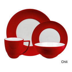 Waechtersbach - Waechtersbach Uno 16-Piece Dinnerware Set - Spice up suppertime with the Waechtersbach UNO Chili 16-piece Place Setting. Featuring a solid-colored red rim and timeless round shape,this two-tone dinnerware set stimulates the senses,turning every meal into a unique experience.