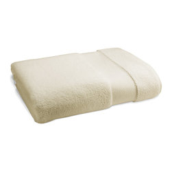 "Frontgate - Resort Cotton Bath Sheet - Luxury bath towels are generously oversized in an array of vibrant colors. Long-staple Turkish cotton that is finely combed for a smooth, soft feel. 700 grams per square meter results in superior plushness and absorbency. ""Zero Twist"" process plumps and stabilizes the yarn while revealing more of the cotton fiber. Add a monogram to the elegant, 5"" wide dobby border; view font options. Softer and longer than towels found at many five-star hotels and spas, our Resort Cotton Towels are lofty, thick, and as luxurious as any in the world. These zero-twist towels are crafted from pure, 100% long-staple Turkish cotton woven to 700 gsm. The end result is luxuriant softness and absorbency that outperforms others..  . . Bath towels feature a 2-1/2""H monogram regardless of font style. View towel care instructions. Made in Turkey . Please note, personalized items are nonreturnable. Allow 3-5 additional days for delivery."