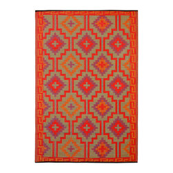 Fab Habitat - Indoor/Outdoor Lhasa Rug, Orange & Violet, 4x6 - Woven from recycled plastic, this striking geometric rug is washable and mildew resistant, making it ideal for the deck, the playroom, the beach — anywhere you want good looks and easy care. Crave a little variety? Flip it over to see the pattern in reverse. Comes with a jute tote bag, for convenient transport or storage.