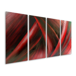 Pure Art - Fury of Desire Handcrafted Metal Wall Hanging Set of 4 - The power of red for your home or office!  The Fury of Desire Handcrafted Metal Wall Hanging Set of 4 puts the power of red to work for you.  Red is not just exciting, it is amazingly enchanting, having the power to energize your decor and those in it.  Red is the color of passion, which makes the flowing lines and fluid design of this abstract metal wall art ideal for the bedroom or other rooms in the home where you want to create an intimate feel, such as the living room, den, family room, and elsewhere.Made with top grade aluminum material and handcrafted with the use of special colors, it is a very appealing piece that sticks out with its genuine glow. Easy to hang and clean.