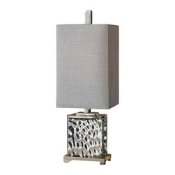 Uttermost Bashan Nickel Lamp - Nickel plated water glass with polished nickel plated metal details. Nickel plated water glass with polished nickel plated metal details. The rectangle hardback shade is a silver gray linen fabric.