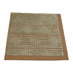 1800-Get-A-Rug - Embossed Modern Wool and Silk Square Mat Hand Knotted Rug Sh12280 - About Modern & Contemporary