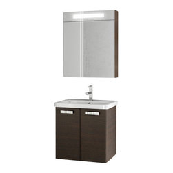 ACF - 22 Inch Wenge Bathroom Vanity Set - Made in engineered wood and mirrored glass and ceramic and coated in wenge.