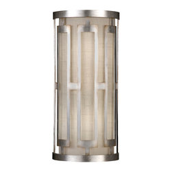 Fine Art Lamps - Allegretto Gold Sconce, 817150-2GU - Bring lovely light into your home through this slim, elegant wall sconce. Its metallic frame and white textured linen shade are purely and simply perfect together.