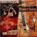 "Tile Art Gallery - Rue Bourbon - Jazz Themed Ceramic Accent Tile - This is a beautiful sublimation printed ceramic tile entitled ""Rue Bourbon"" by artist Conrad Knutsen. It features a jazzy, New Orleans inspired artwork."