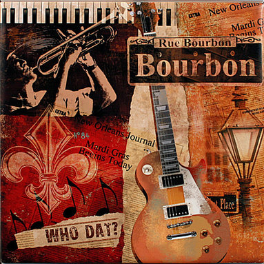 """Tile Art Gallery - Rue Bourbon - Jazz Themed Ceramic Accent Tile - This is a beautiful sublimation printed ceramic tile entitled """"Rue Bourbon"""" by artist Conrad Knutsen. It features a jazzy, New Orleans inspired artwork."""