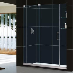 """DreamLine - DreamLine SHDR-19607210-01 Chrome Mirage Mirage Frameless Sliding - Mirage Frameless Sliding Shower Door 60"""" x 72"""" with Clear Glass and Left or Right Install The MIRAGE™ frameless sliding shower door from DreamLine™ offers innovative design and the look of custom glass. Most sliding shower doors require substantial aluminum framing, but the MIRAGE uses innovative hardware to provide the space-saving benefits of a sliding door without compromising the beauty of completely frameless glass. The MIRAGE frameless sliding shower door allows for width adjustments of up to 4 inches. The sliding panel door can be installed for right or left door opening. DreamLine SHDR-19607210 Features:  Completely frameless glass design One sliding door and two stationary panels Two integrated glass shelves 3/8"""" (10mm) thick tempered clear glass Reversible for right or left door opening Width may be trimmed up to 4"""" during installation (56"""" - 60"""") Dimensions: 60"""" x 72"""""""
