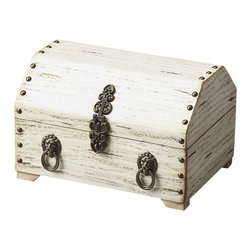 Butler Furniture - Sausalito Antique White Jewelry Box - This treasure chest of a jewelry box opens to a red velvet-lined space where a surprising amount of jewelry can be conveniently stored, including a lift-out, compartmentalized tray. It is carefully crafted from solid wood in a distressed Antique Brown finish with exquisite brass-finished hardware.
