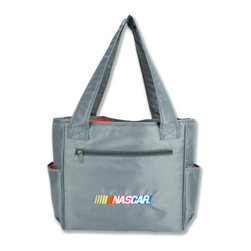 """Trend Lab - Diaper Bag - NASCAR Tulip Tote - Hit the road equipped and in style with this NASCAR Tote Bag by Trend Lab. Nylon bag features a gray body and red lining with the NASCAR logo embroidered on the front. Outside of the bag has two side bottle pockets, a front zippered pocket and a wide pocket across the back. Inside are four pockets that will keep all your travel necessities organized. Magnet closure keeps inside contents secure. Removable, coordinating changing pad and transparent dirty duds zippered pouch included. Bag: approximately 13"""" x 12"""" x 7"""" with 24"""" straps, Changing Pad: 24"""" x 14"""", Dirty Duds Pouch: 10"""" x 8"""". NASCAR is a registered trademark of the National Association for Stock Car Auto Racing, Inc."""