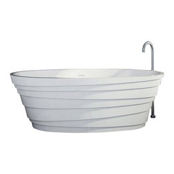 ADM - ADM White Stand Alone Solid Surface Stone Resin Bathtub, Glossy - SW-150