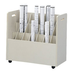 """Safco - Safco 21 Compartment Mobile Wood Roll Files Organizer in Putty - Safco - Filing Cabinets - 3043 - This 21 Compartment Mobile Roll File is an economic organizing solution perfect for work-in-progress. Your Roll File is attractive and sturdy constructed of particle board with an attractive textured vinyl laminate finish. Easily mobile with 2"""" swivel casters your file makes your office a multitasking workspace. Complete with a grandstand design with square tubes for trouble-free removal of contents. For additional organizing pair your mobile roll file with our eclipz holder labels."""