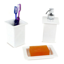 Gedy - White Porcelain Bathroom Accessory Set - Stylish, trendy 3-piece bathroom accessory set which includes toothbrush holder, soap dispenser, and soap dish.